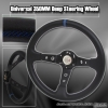350MM Deep Dish Steering Wheel Black Center w/ Blue Stitching