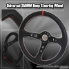 350MM Deep Dish Steering Wheel Black Center w/ Red Stitching