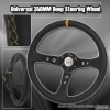 350MM Deep Dish Steering Wheel Black Center w/ Yellow Stitching