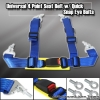 "4POINT UNIVERSAL RACING SEAT BELTS 2"" NYLON STRAP BLUE W/ QUICK SNAP EYE BOLTS"