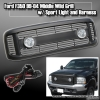 99 00 01 02 03 04 FORD F350 BILLET STYLE GRILLE W/ SPORT LIGHTS AND HARNESS BLACK