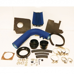 Ford F150 F250 Expedition Heritage Lincoln Navigator V8 5.4L 4.6L 5.4 4.6 Liter High Flow Induction Air Intake System + Heat Shield Blue Wrinkle Piping Kit