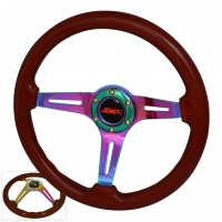 JDM SPORT 345MM DARK WOOD GRAIN NEO-CHROME STREAK HOLE CENTER STEERING WHEELS