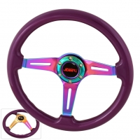JDM SPORT 345MM PURPLE WOOD GRAIN NEO-CHROME STREAK HOLE CENTER STEERING WHEELS