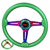 JDM SPORT 345MM GREEN WOOD GRAIN NEO-CHROME STREAK HOLE CENTER STEERING WHEELS
