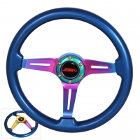 JDM SPORT 345MM BLUE WOOD GRAIN NEO-CHROME STREAK HOLE CENTER STEERING WHEELS