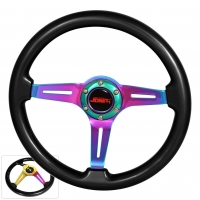 JDM SPORT 345MM BLACK WOOD GRAIN NEO-CHROME STREAK HOLE CENTER STEERING WHEELS