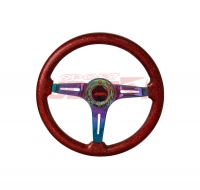 JDM SPORT 345MM METALLIC RED WOOD GRAIN NEO-CHROME STREAK HOLE CENTER STEERING WHEELS