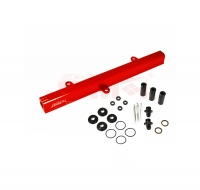 JDM SPORT 89-94 NISSAN 240SX S13 SR20DET RED FUEL RAIL WITH BLACK FITTINGS