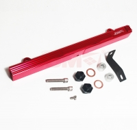 JDM SPORT MITSUBISHI EVO 4-9 / ECLIPSE 95-99 4G63 RED FUEL RAIL WITH BLACK FITTINGS