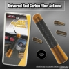 "UNIVERSAL 3"" CARBON FIBER RADIO FREQUENCY SCREW ON TYPE REAR ALUMINUM ANTENNA GOLD"