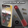 """UNIVERSAL 3"""" CARBON FIBER RADIO FREQUENCY SCREW ON TYPE REAR ALUMINUM ANTENNA RED"""
