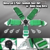 UNIVERSAL QUICK RELEASE 5 POINT CAMLOCK RACING SEAT BELT GREEN W/ QUICK SNAP EYE BOLTS