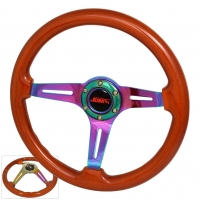 JDM SPORT 345MM LIGHT WOOD GRAIN NEO-CHROME STREAK HOLE CENTER STEERING WHEELS