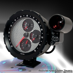 Universal Type JDM Racing Designed All in One Tachometer Carbon Sivler