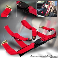"""4POINT UNIVERSAL RACING SEAT BELTS 2"""" NYLON STRAP RED"""