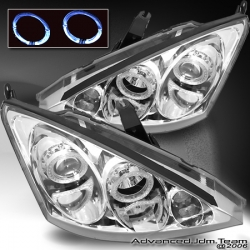 00 01 02 03 04 05 FORD FOCUS DUAL HALO PROJECTOR HEADLIGHTS CHROME