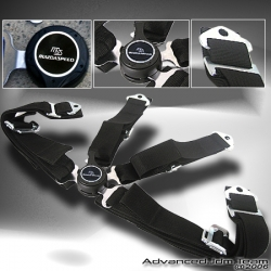 UNIVERSAL QUICK RELEASE 4 POINT CAMLOCK SEAT BELT BLACK WITH MAZDA SPEED EMBLEM