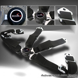 UNIVERSAL QUICK RELEASE 4 POINT CAMLOCK SEAT BELT BLACK WITH NISMO EMBLEM