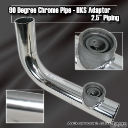90 DEGREE HKS STYLE TURBO BOV ADAPTER FLANGE PIPING PIPE CHROME