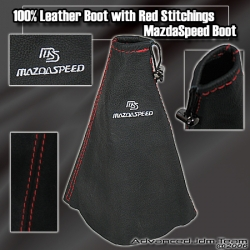 JDM UNIVERSAL LEATHER MAZDASPEED SHIFT BOOT WITH RED STITCHING