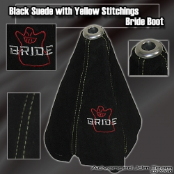 JDM UNIVERSAL SUEDE BRIDE SHIFT BOOT WITH YELLOW STITCHING