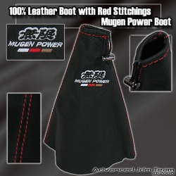 JDM UNIVERSAL MUGEN LEATHER SHIFT BOOT WITH RED STITCHING