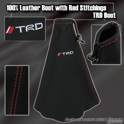 JDM UNIVERSAL TRD LEATHER SHIFT BOOT WITH RED STITCHING