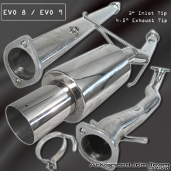 02 03 04 05 06 MITSUBISHI LANCER EVO 8 9 STAINLESS STEEL CAT BACK EXHAUST