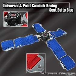 UNIVERSAL QUICK RELEASE 4 POINT CAMLOCK SEAT BELT BLUE WITH Z EMBLEM