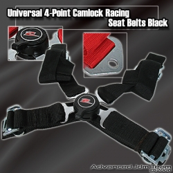 UNIVERSAL QUICK RELEASE 4 POINT CAMLOCK SEAT BELT BLACK WITH Z EMBLEM