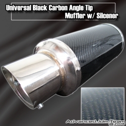 UNIVERSAL BLACK CARBON STRAIGHT ANGLE TIP MUFFLER W/ SILCENER