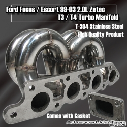 99 00 01 02 03 FORD FOCUS / ESCORT 2.0L ZETEC T3/T4 STAINLESS STEEL TURBO MANIFOLD