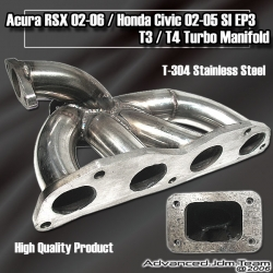02 03 04 05 06 ACURA RSX / 02 03 04 05 HONDA CIVIC SI STAINLESS STEEL T3/T4 TURBO MANIFOLD