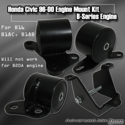 96 97 98 99 00 HONDA CIVIC JDM SPORTS B-SERIES ENGINE MOUNT KIT 5 SPEED ONLY