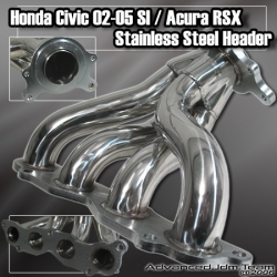 02 03 04 05 06 ACURA RSX NON TYPE S STAINLESS STEEL HEADER