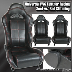 UNIVERSAL JDM PVC LEATHER BLACK RACING SEATS WITH RED STITCHING