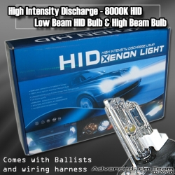 UNIVERSAL H4 HID HIGH INTENSITY DISCHARGE 8000K CONVERSION KIT HIGH AND LOW BEAM