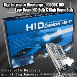 UNIVERSAL H4 HID HIGH INTENSITY DISCHARGE 10000K CONVERSION KIT HIGH AND LOW BEAM
