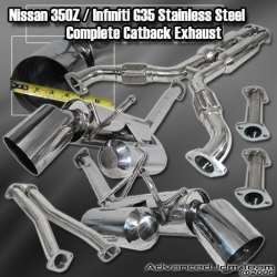 02 03 04 05 06 07 NISSAN 350Z FAIRLADY INFINITY G35 HI POWER STAINLESS STEEL DUAL EXHAUST COMPLETE CATBACK SYSTEM