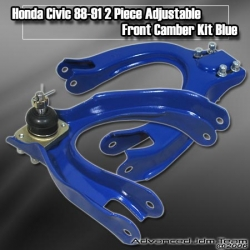 88 89 90 91 HONDA CIVIC / CRX ADJUSTABLE FRONT UPPER CAMBER KIT BLUE