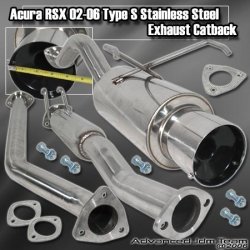 02 03 04 05 06 ACURA RSX TYPE S STAINLESS STEEL EXHAUST CATBACK