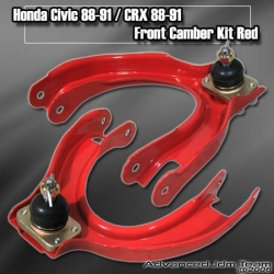 88 89 90 91 HONDA CIVIC / CRX ADJUSTABLE FRONT UPPER CAMBER KIT Red