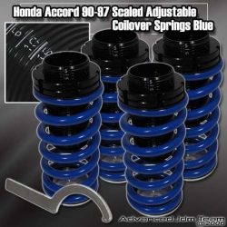 90 91 92 93 94 95 96 97 98 99 00 01 02 HONDA ACCORD JDM ADJUSTABLE COILOVER LOWERING SPRINGS BLUE W/ SCALE