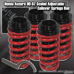 90 91 92 93 94 95 96 97 98 99 00 01 02 HONDA ACCORD JDM ADJUSTABLE COILOVER LOWERING SPRINGS Red W/ SCALE