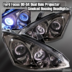 00 01 02 03 04 FORD FOCUS DUAL HALO PROJECTOR TITANIUM / SMOKED HEADLIGHTS