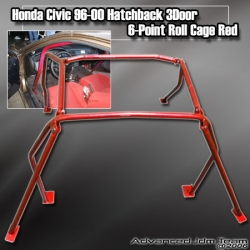 HONDA CIVIC 96 97 98 99 00 HB HATCHBACK 6 POINT ROLL CAGE RED
