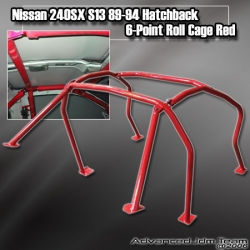 NISSAN 240SX S13 89 90 91 92 93 94 HB HATCHBACK 6-POINT ROLL CAGE RED
