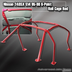 NISSAN 240SX S14 95 96 97 98 6-POINT ROLL CAGE RED