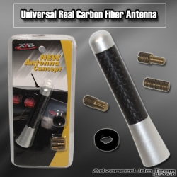 "UNIVERSAL 3"" CARBON FIBER RADIO FREQUENCY SCREW ON TYPE REAR ALUMINUM ANTENNA"